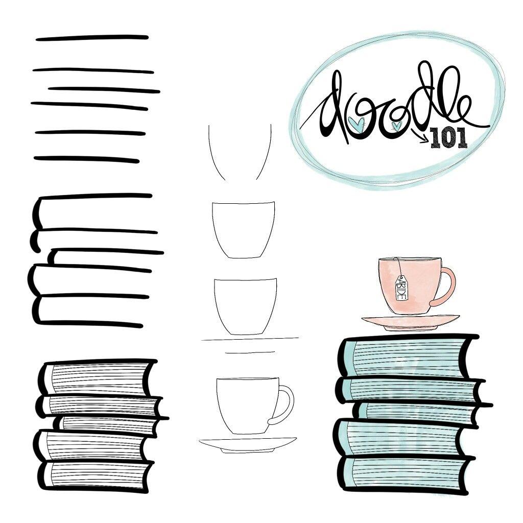 Doodle Pile De Livres Tasse Idees Farfelues Simples