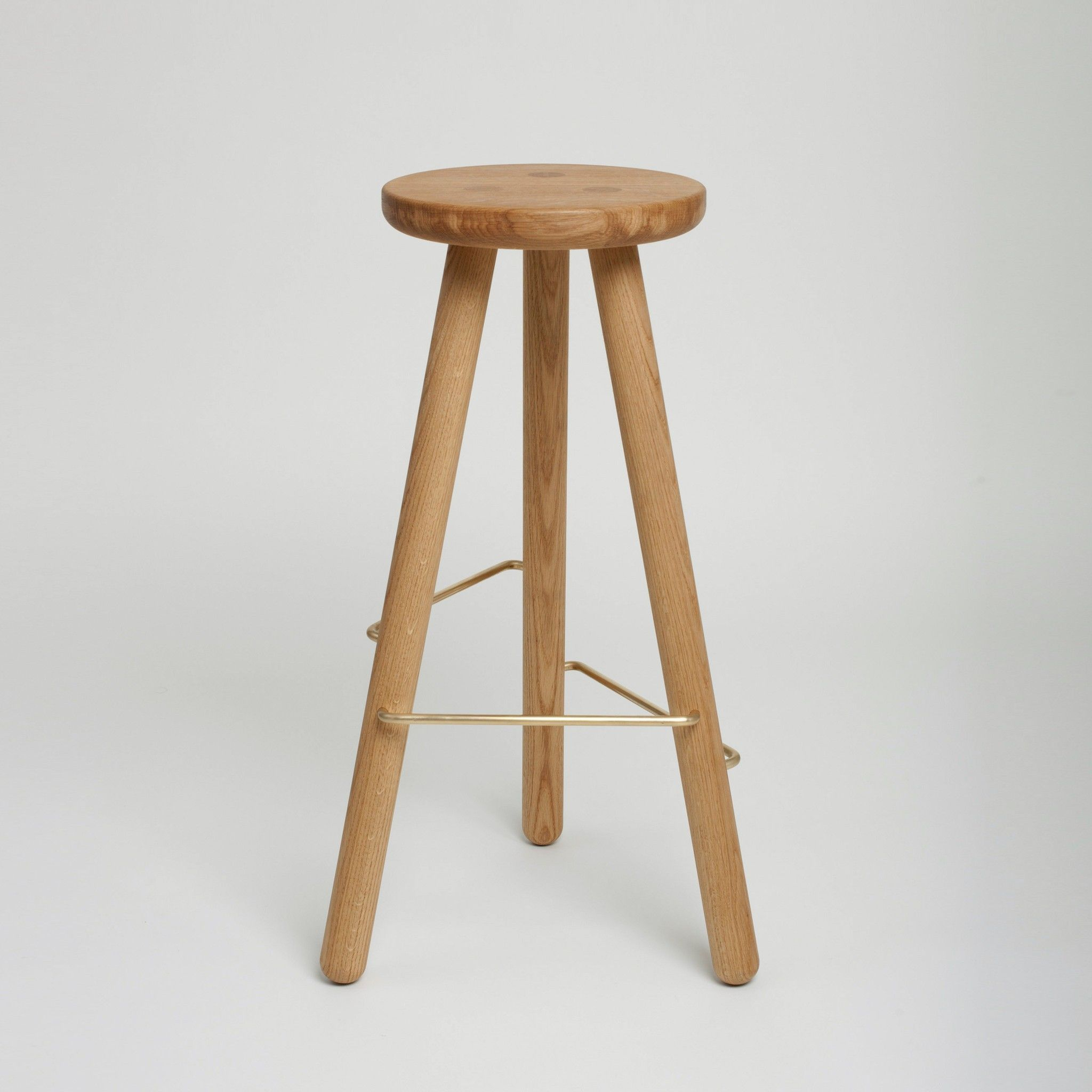 Country Light Oak Wood Bar Stool With Round Wooden Seats Plus Wooden