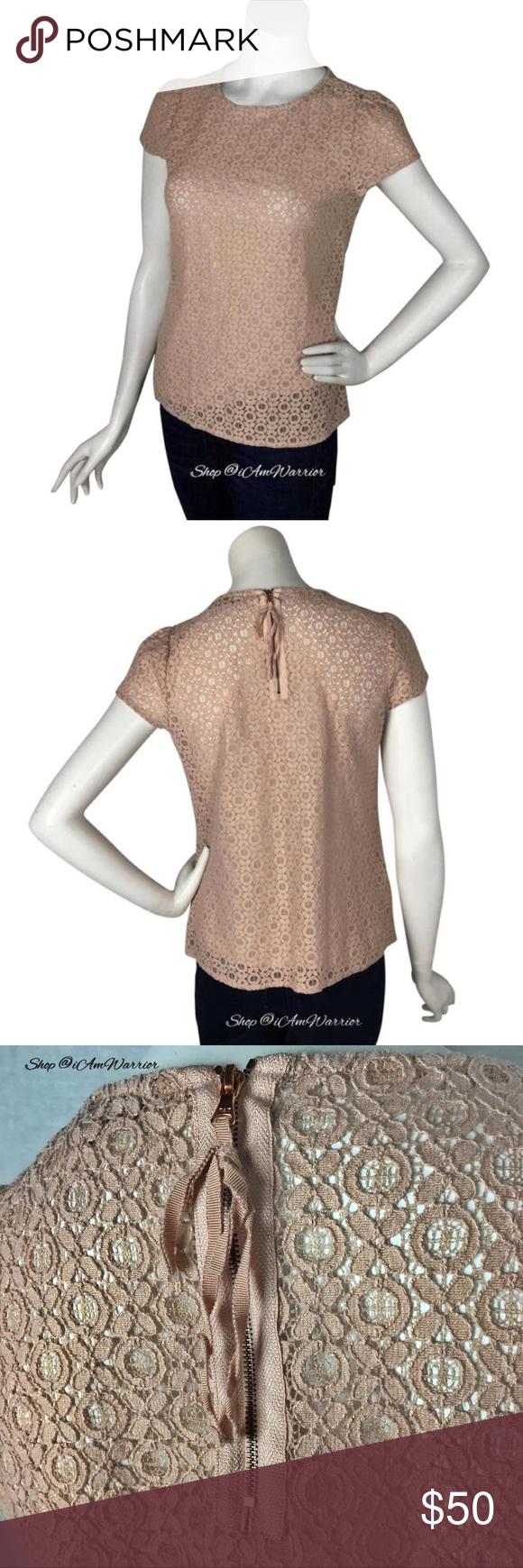 Ann Taylor Loft blush rose gold metallic lace top Pretty semi sheer lace  Loft top 57782c88f