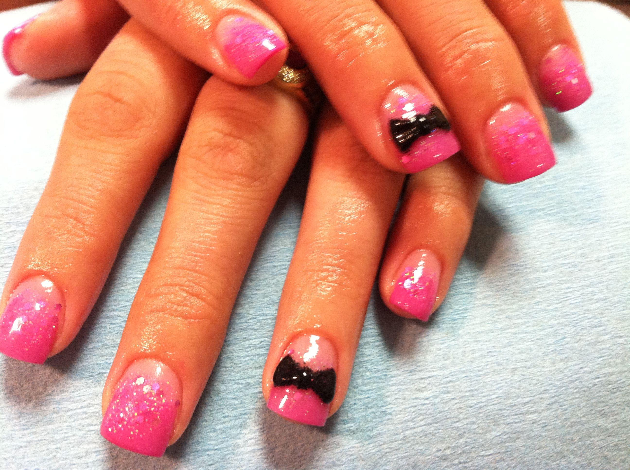 Acrylic nails bows pink glitter | My acrylic nails | Pinterest
