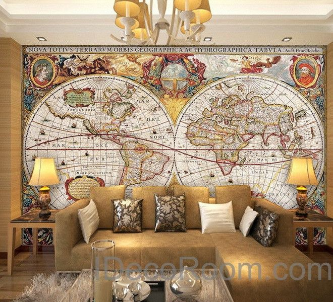 vintage hd world map wallpaper wall decals wall art print mural home decor office business indoor