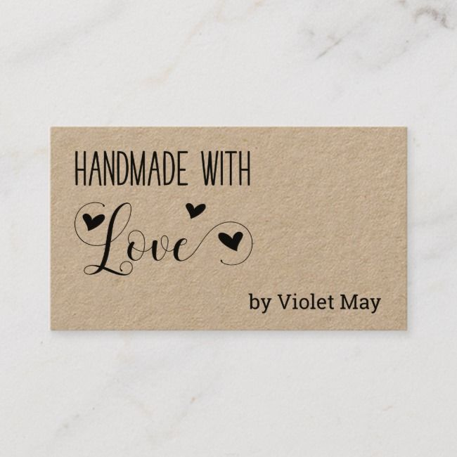 Rustic Handmade With Love Heart Kraft Business Card Zazzle Com In 2021 Kraft Business Cards Craft Business Cards Handmade Business Cards