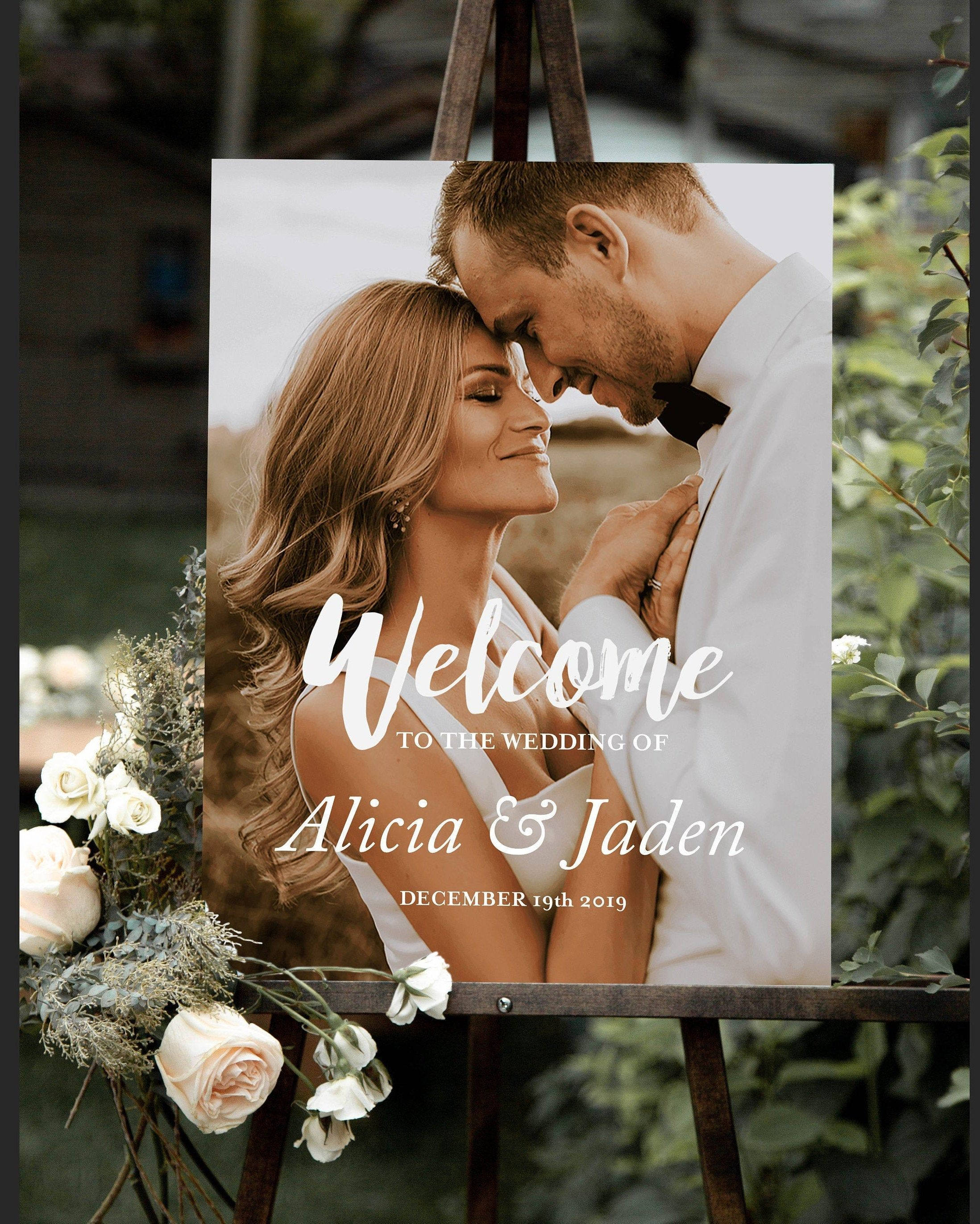Wedding welcome sign with photo, Welcome sign, Wedding welcome photo sign, Welcome our wedding signs, DIGITAL signage, picture welcome sign