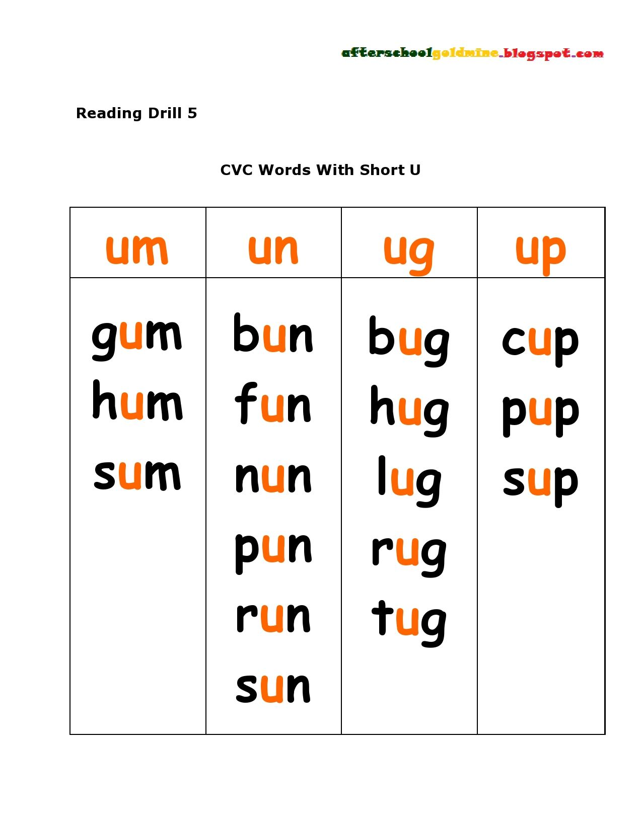 Image Result For Short U Cvc Words