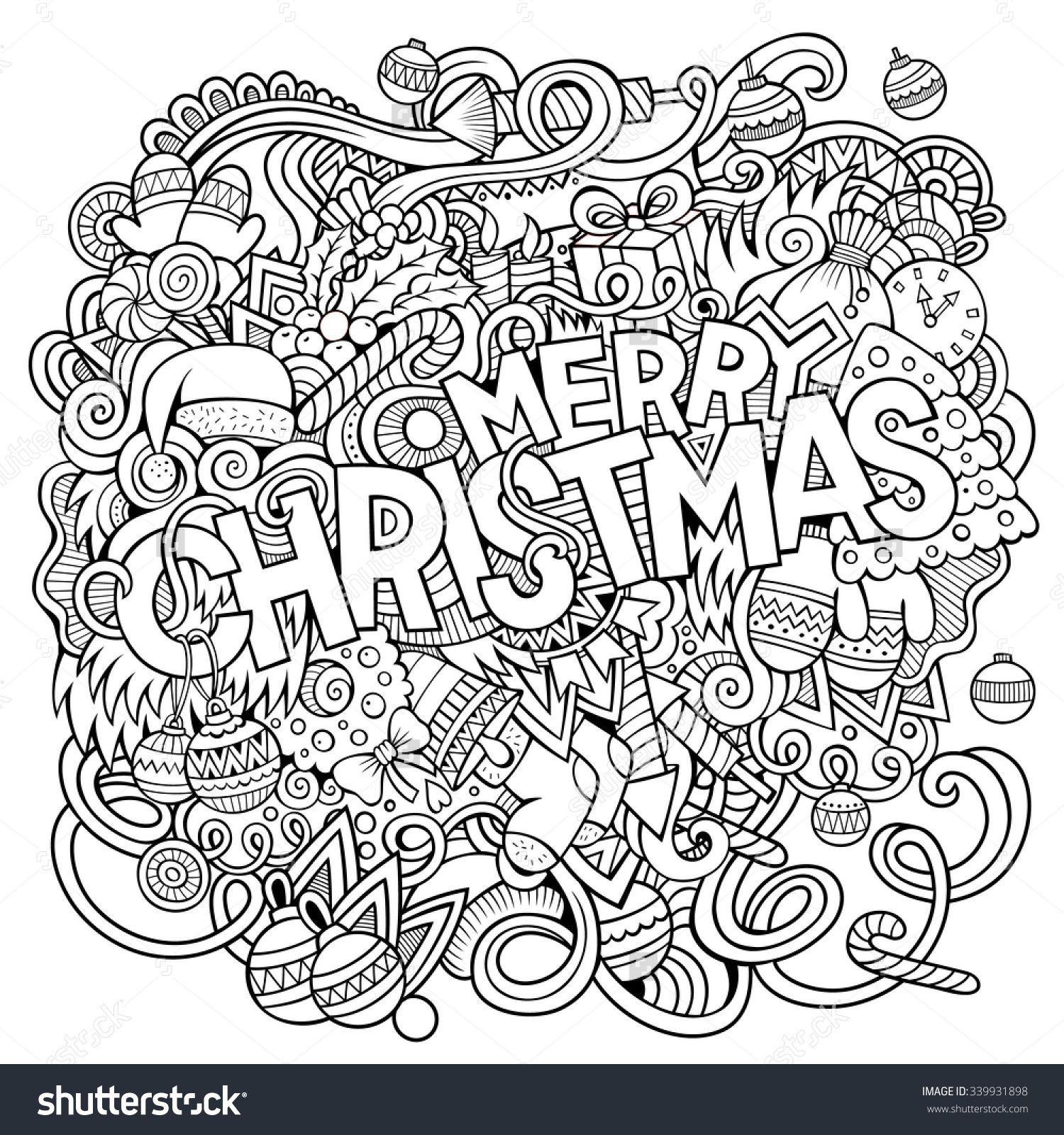 Merry Christmas Hand Lettering And Doodles Elements