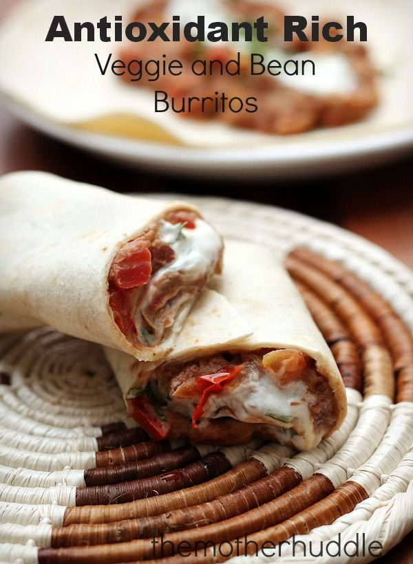 Antioxidant Rich Veggie and Bean Burritos