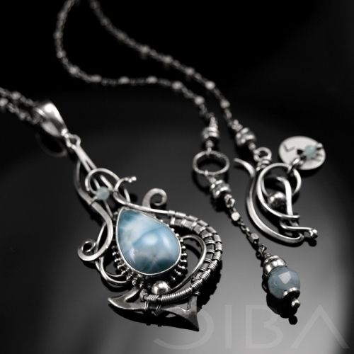 Achimah An exclusive, sterling silver necklace with larimar. Take ...