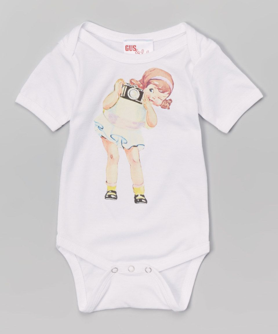 Another great find on #zulily! Gus & Lola White Camera Bodysuit - Infant by Gus & Lola #zulilyfinds