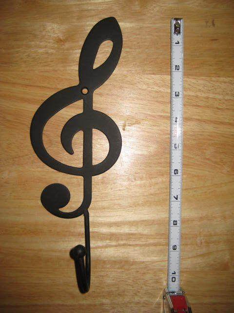 Black Treble Clef Metal Wall Mount Hook   Coat Hat Towel Home Decor Piano  Guitar