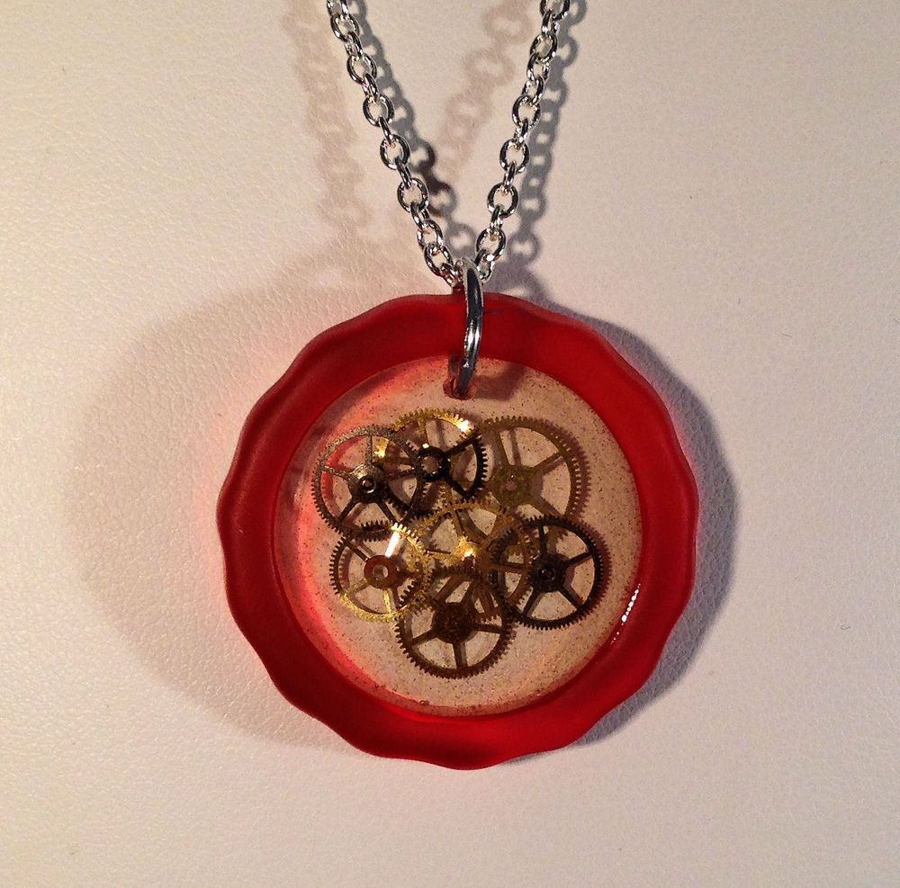 Recycled Glass and Watch Gears Necklace Steampunk     07 #Handmade #Pendant