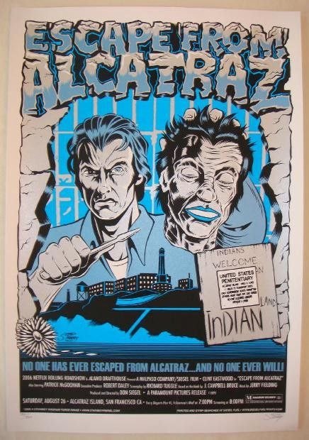 2006 Escape From Alcatraz Silkscreen Movie Poster By Stainboy In