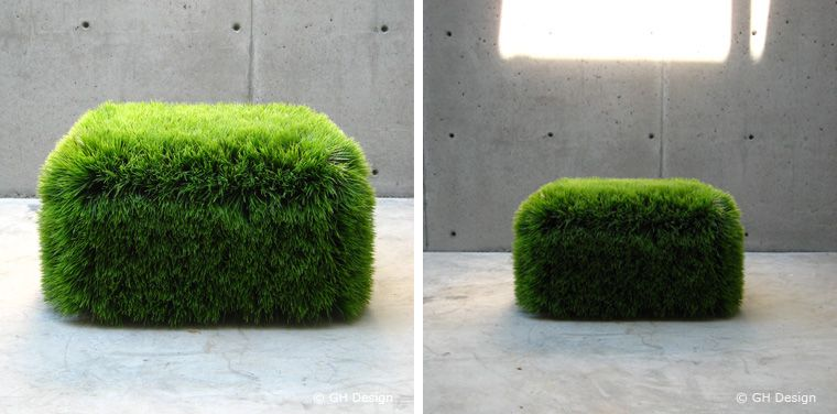 The Grass Ottoman is constructed of a fade resistant plastic set on a lightweight form that is solid yet light weight. It can be used in the garden or the living room. It's designed by Nancy Favier. [found at thetrendygirl, made by GH Design]    Read more: http://www.digsdigs.com/10-example-of-modern-green-furniture/#ixzz1sCE8mahu