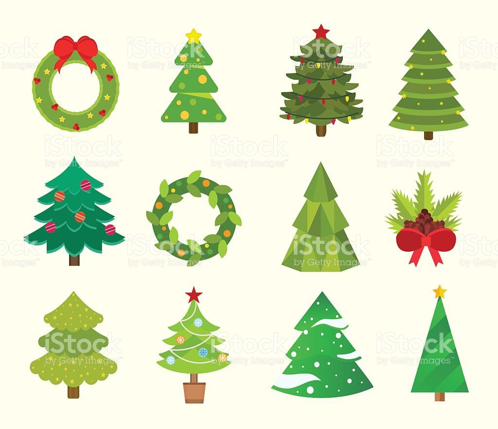 Christmas Tree Flat Icons Set Royalty Free Stock Vector Art Tree Icon Tree Doodle Christmas Icons