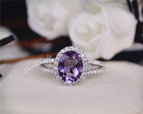 Natural Amethyst Ring Amethyst Engagement Ring Wedding Ring