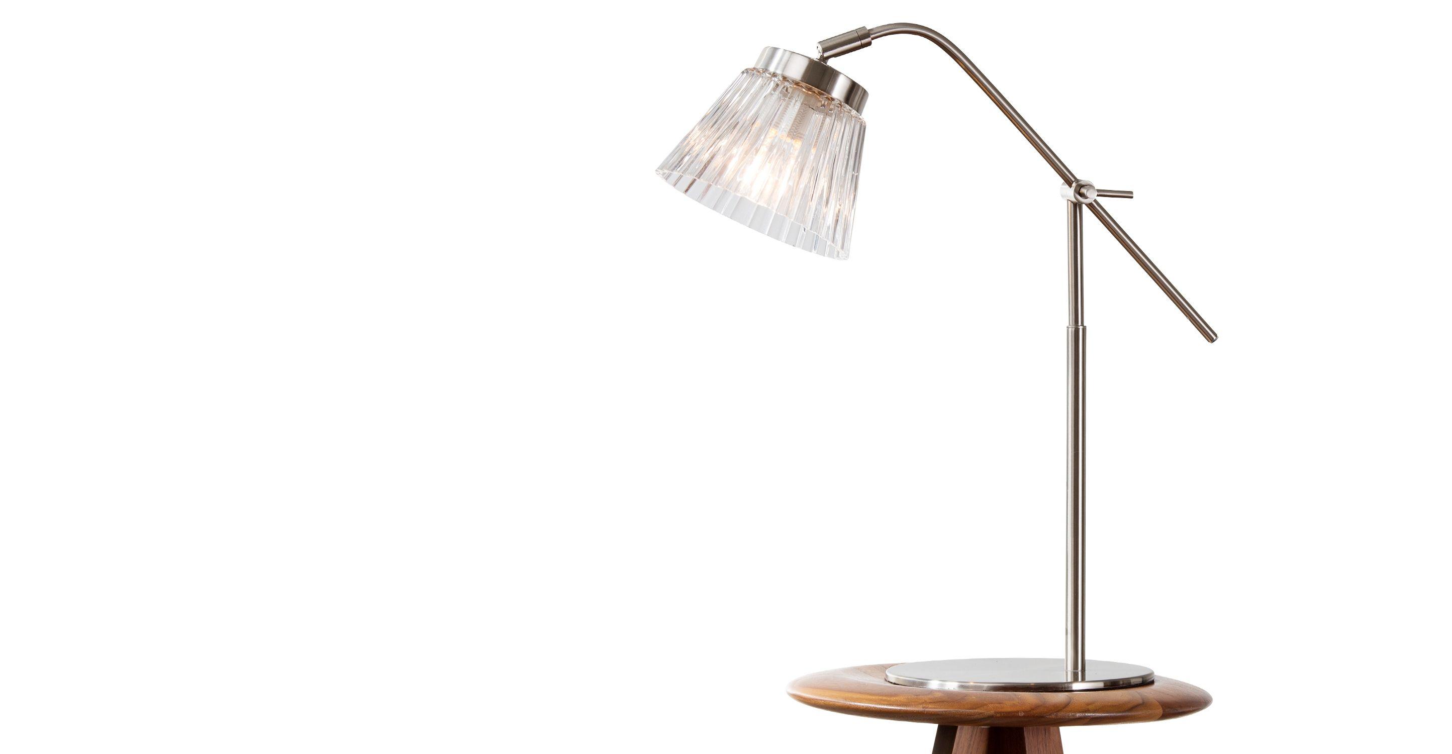 E lampe de table acier brossé