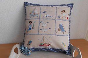Kissen-LA-MER-Sommer-Sonne-Meer-maritim-Fremme-Leinen-V-H-Point-de-Croix