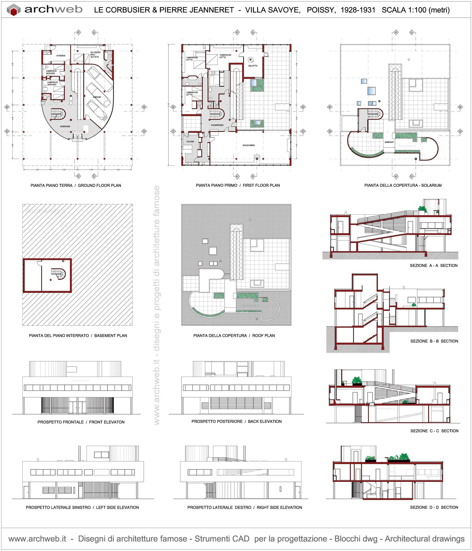 Villa Savoye Plan Drawings Le Corbusier Pinterest