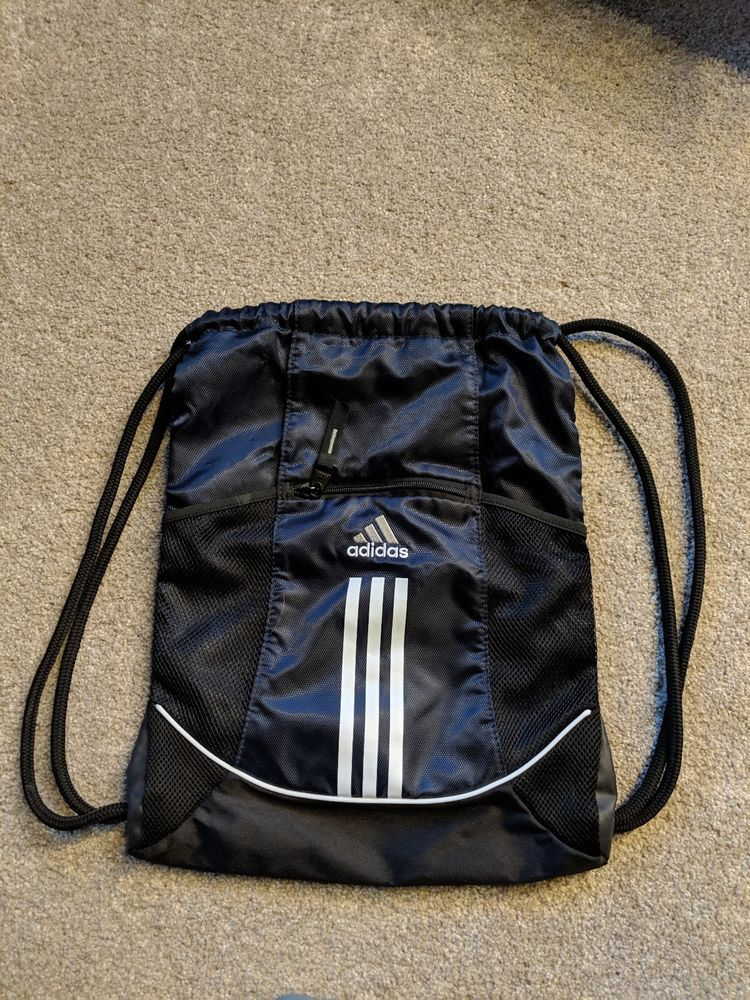 NEW Adidas Navy Blue and Black Drawstring Cinch Backpack with Pockets   fashion  clothing   0978f1f3f13f5
