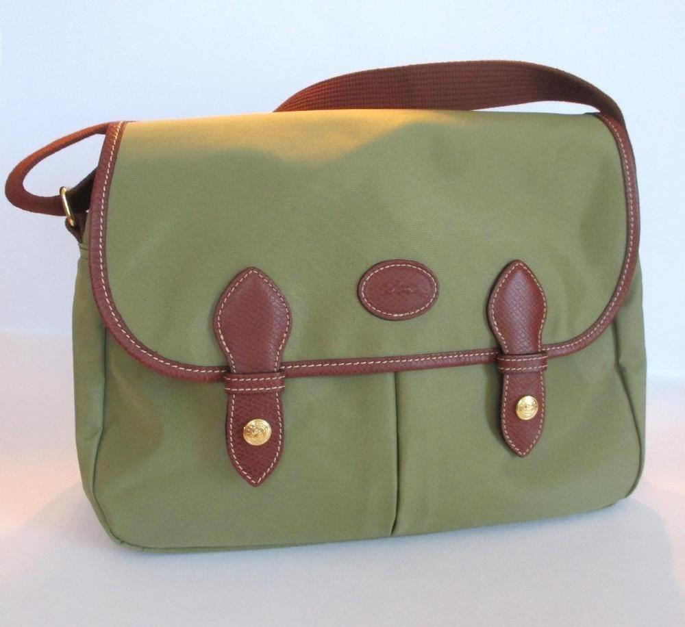 d5e604605e8d NWOT  345 Longchamp Planetes Messenger   Crossbody Bag Khaki Nylon Leather  Trim…