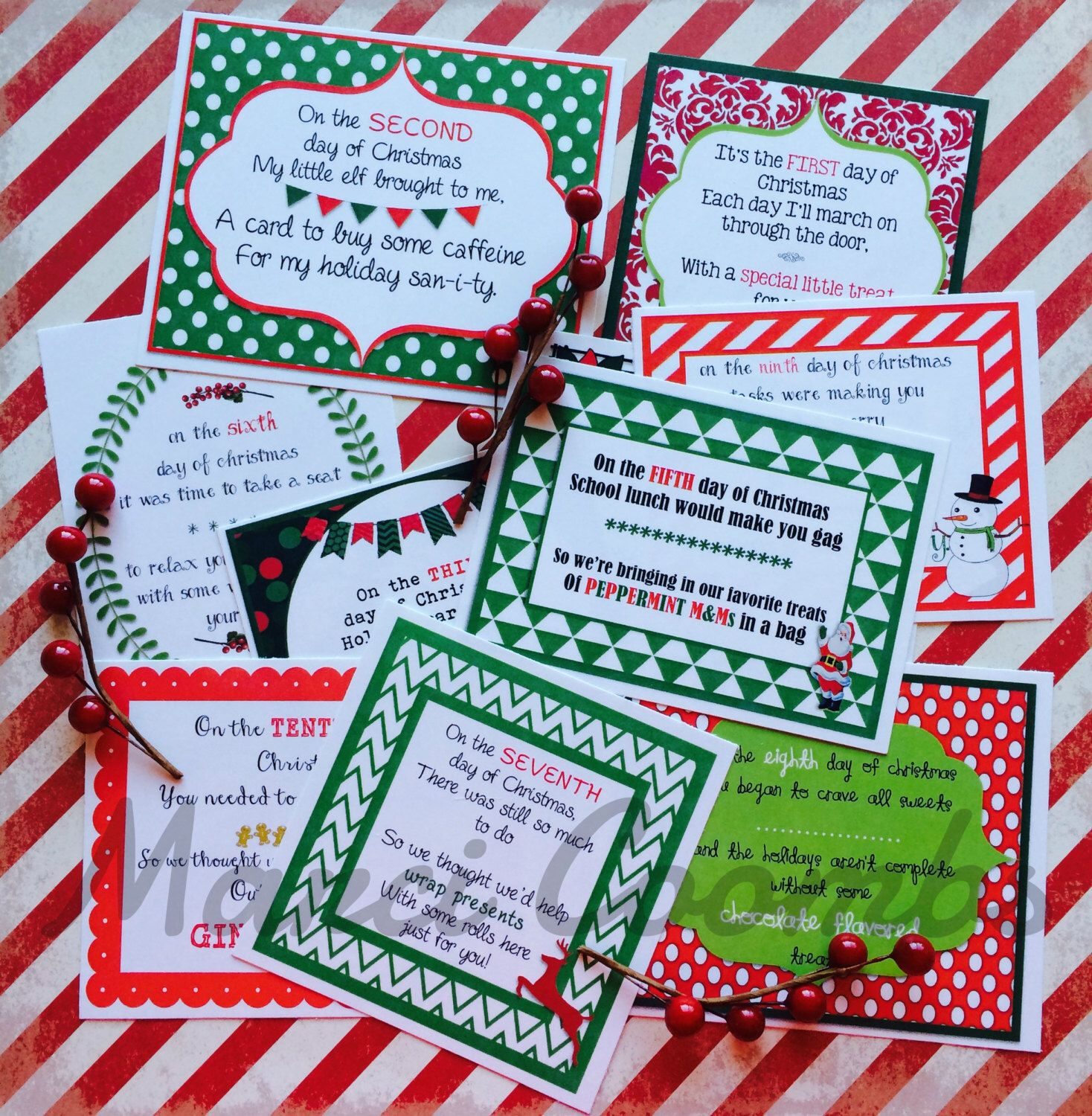 12 Days Of Christmas Printable Tags Secret Santa Labels