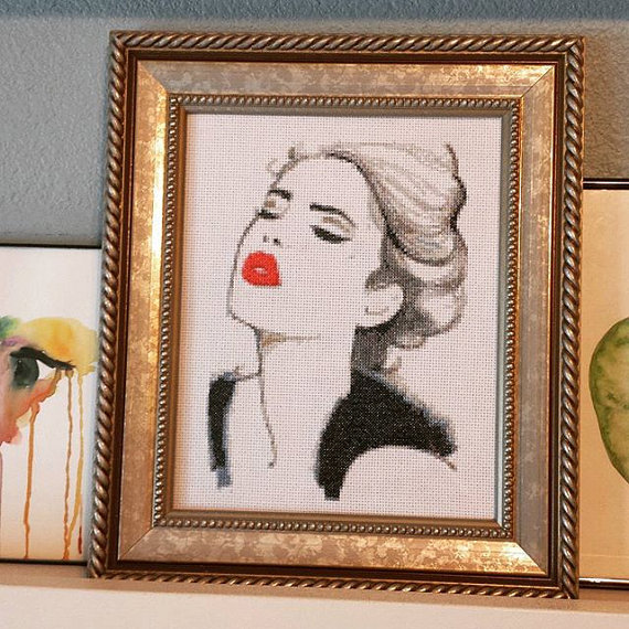 Pattern, pattern, pattern! Hey, I found this really awesome Etsy listing at https://www.etsy.com/listing/251186824/girl-with-the-red-lips-cross-stitch
