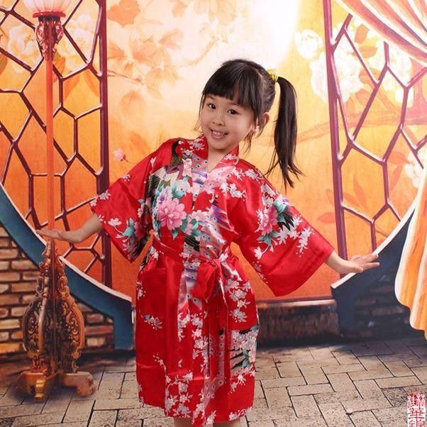 14f95c5724c Kids Robe Satin Children Kimono Robes Bridesmaid Flower Girl Dress Silk children s  bathrobe Nightgown Kimono Peacock robe