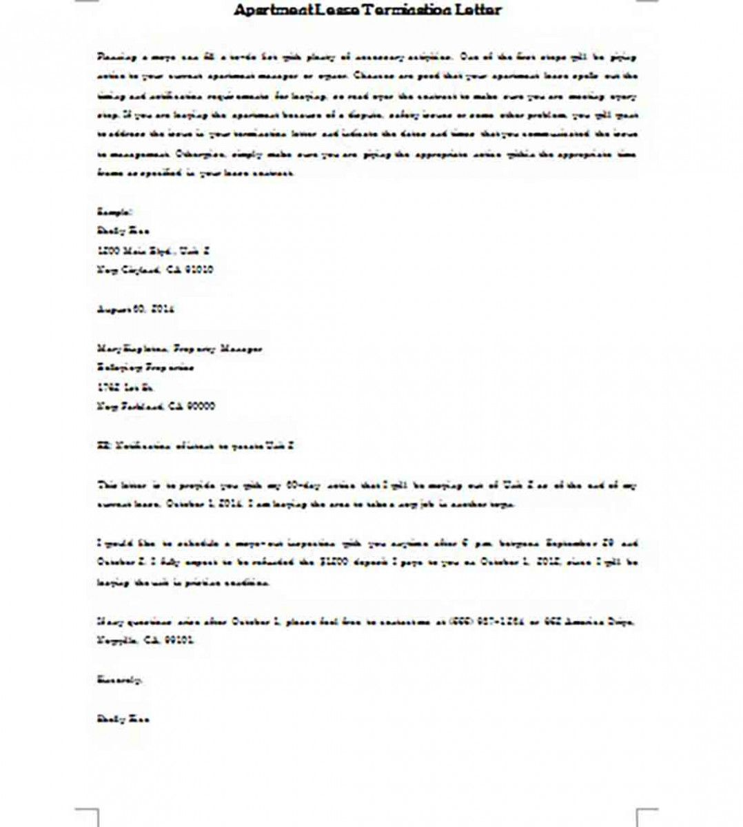 Sample Apartment Lease Termination Letter from i.pinimg.com