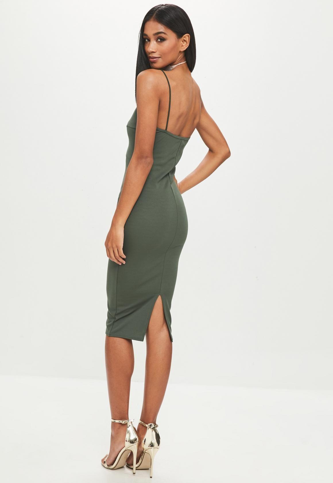 Missguided Khaki Strappy Midi Dress Women Dress Online Strappy Midi Dress Womens Dresses [ 1680 x 1160 Pixel ]