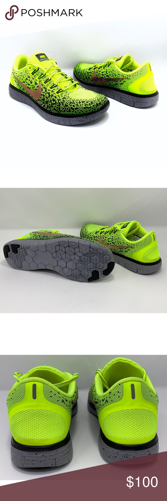 bd6219db6d6a Nike Free RN Distance Shield Men s Running Shoes NIKE Nike Free RN Distance  Shield 849660-700 Men s Running Shoes Size 6.5 Neon Green Low top New  without ...