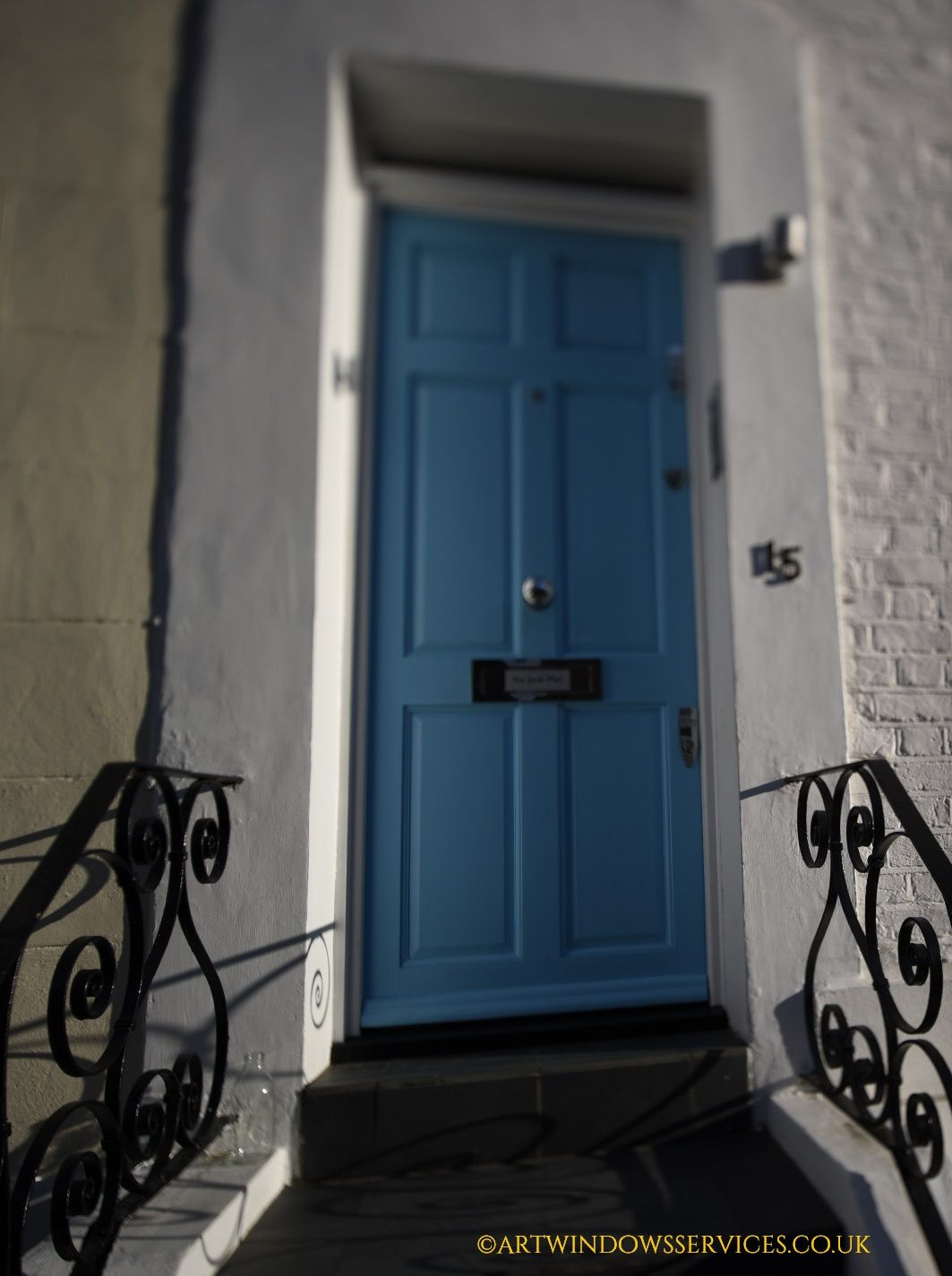 Classic English Entry Door With Chrome Polished Door Furniture
