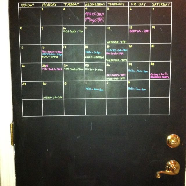 Nothing like a little chalk paint and wet erase markers to create a calendar my husband always sees on his way out the door! Can even color code it.