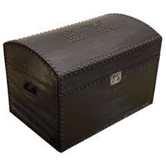 English Dome Top Trunk With Nailhead Initials | From a unique collection of antique and modern trunks and luggage at https://www.1stdibs.com/furniture/more-furniture-collectibles/trunks-luggage/
