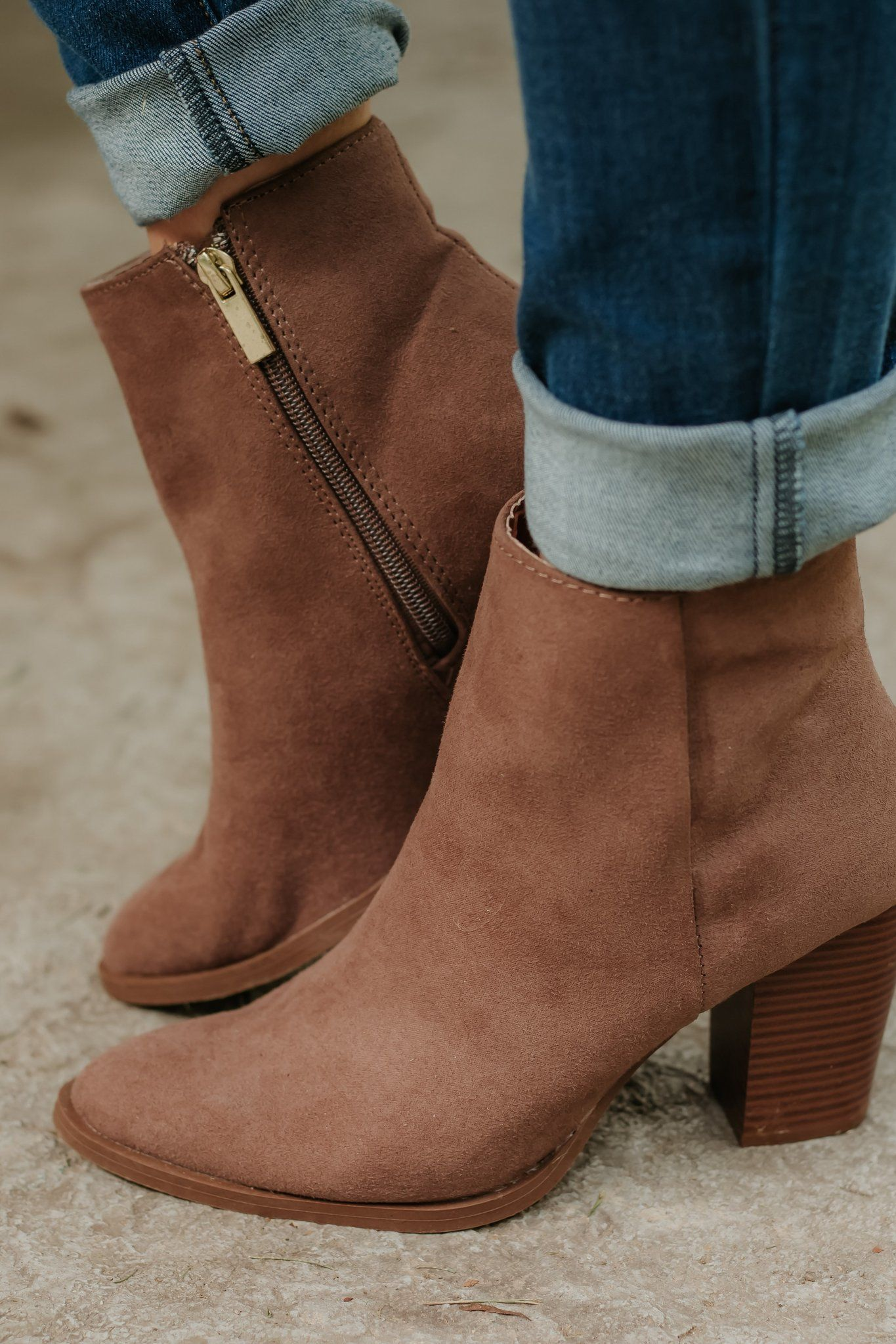 Tiber Suede Booties ~ Nutmeg #booties