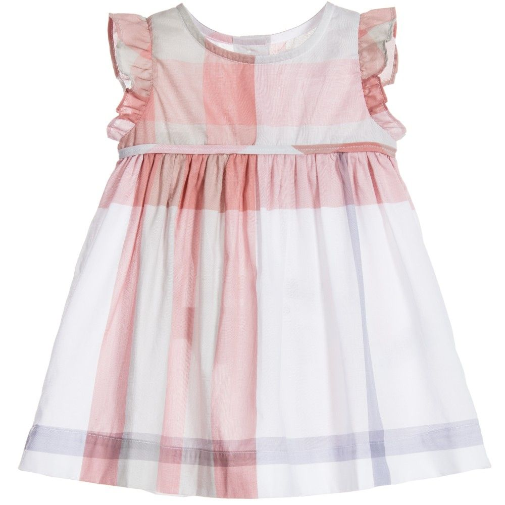 ecf5183bf10 Baby Girls Pink Check Cotton Dress, Burberry, Girl | kid clothes ...