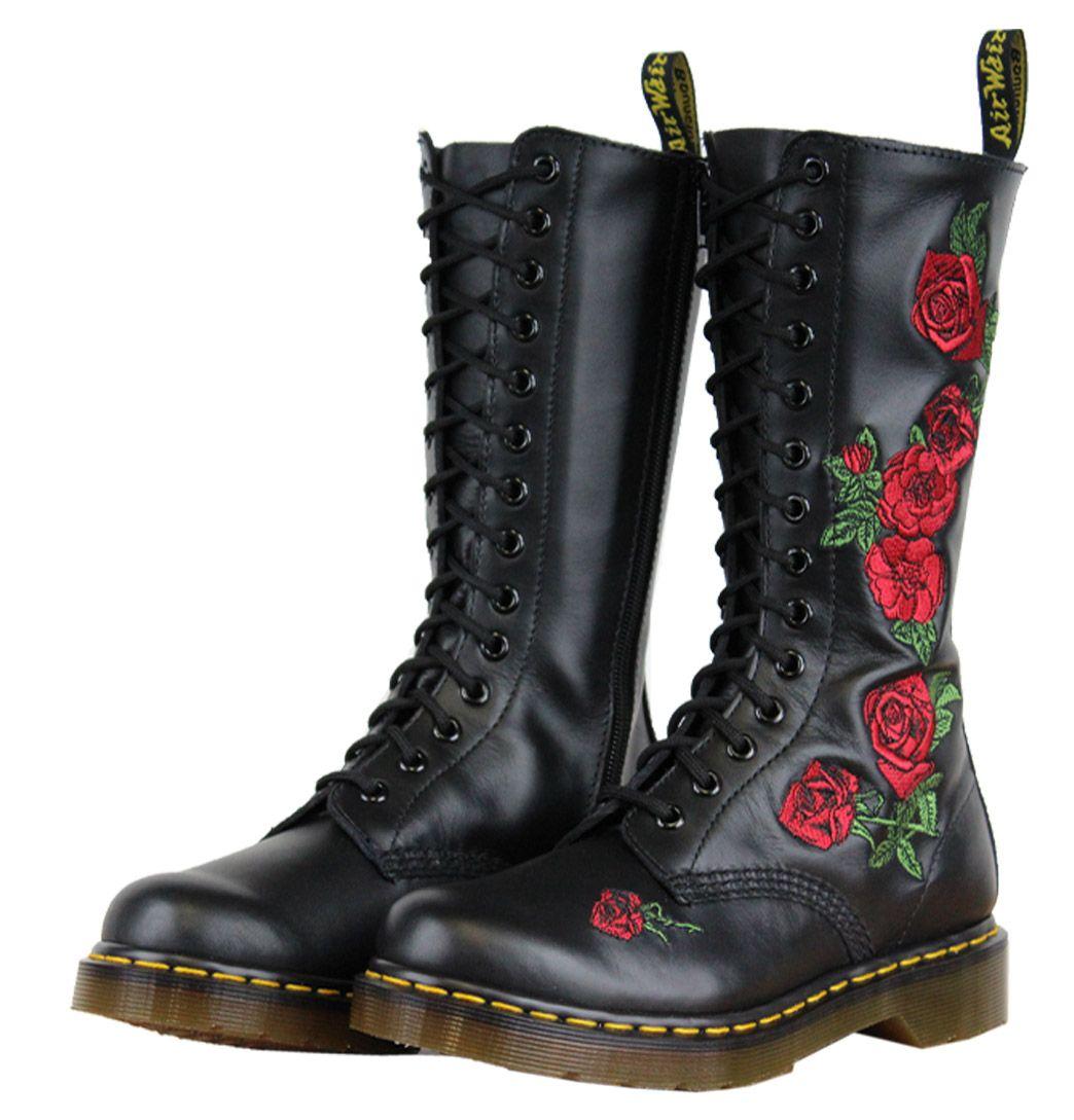 Knee boots doc martens black roses | Dr