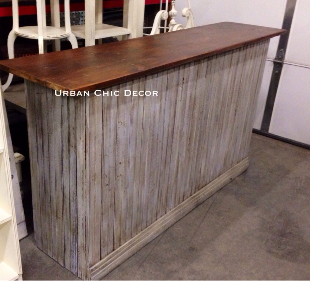 Repurposed Check Out Counter Made From Salvaged Wainscot