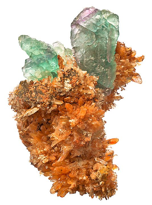 Orange Creedite crystals in cluster with elongated Fluorites / Mineral Friends <3