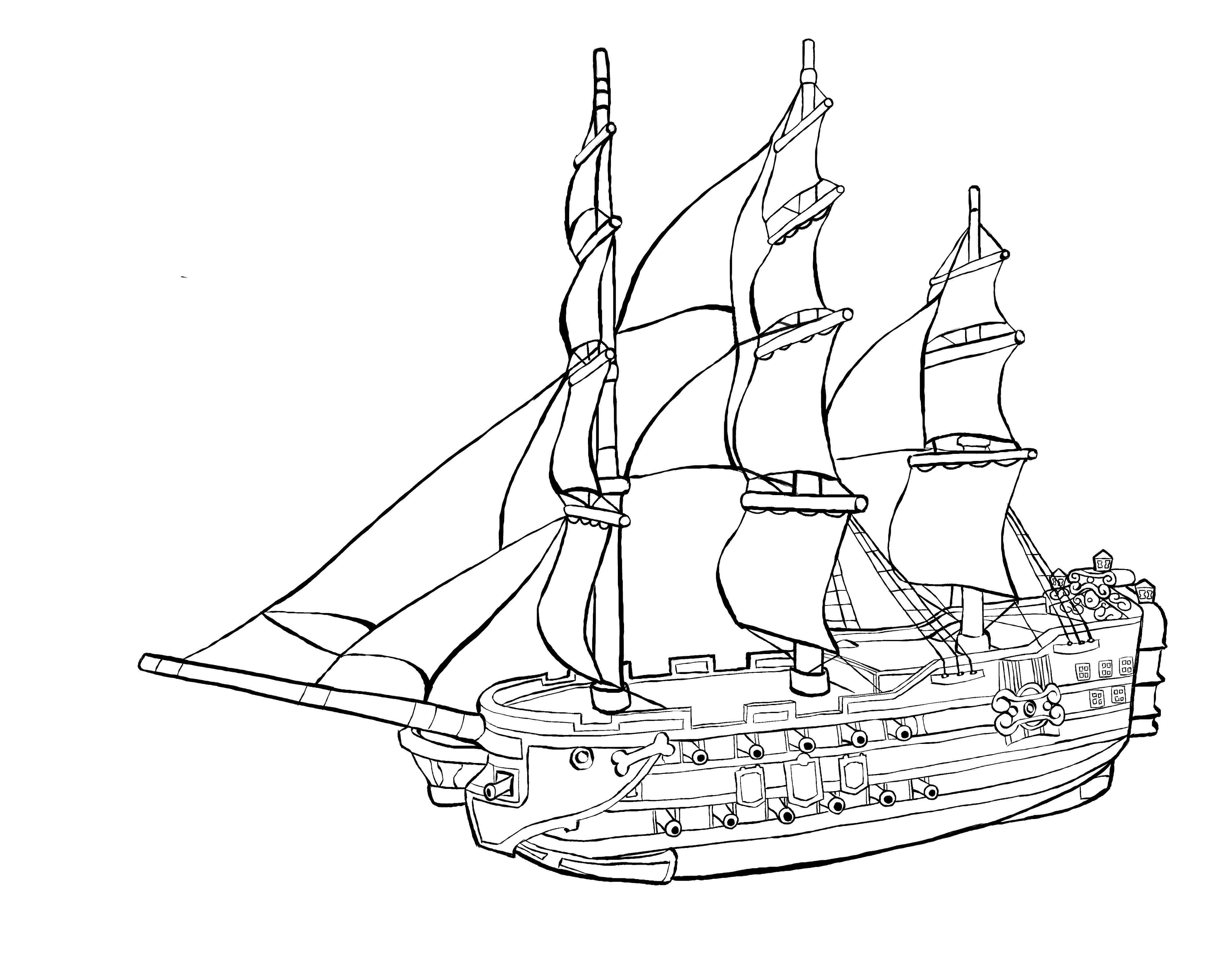 Boats Pirate Ship Coloring Pages For Kids Coloring Pages For Kids Desenho [ 3147 x 4000 Pixel ]