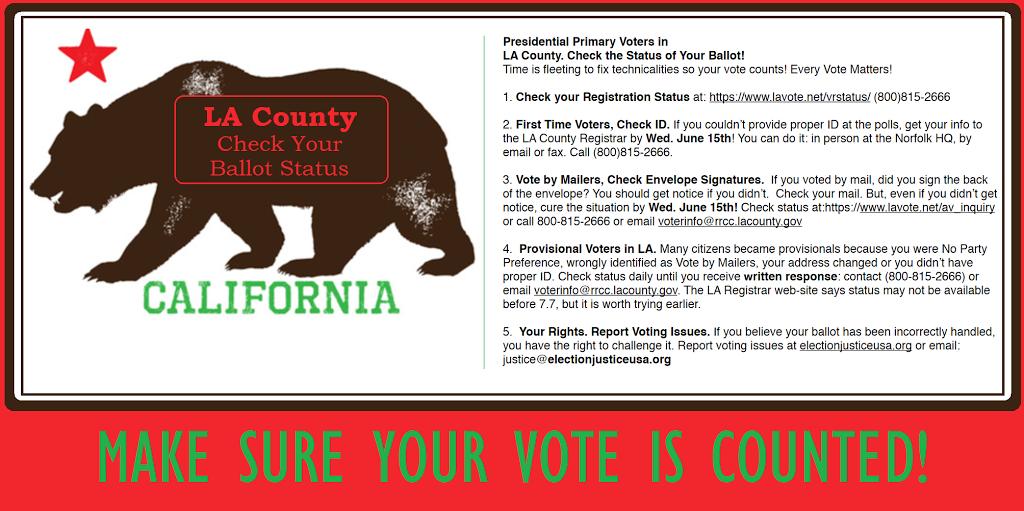 Click Image To Your Ballot Status Every Vote Matters Woobietuesday Losangeles Ca Checkyoself Votes Matter Ballot La County