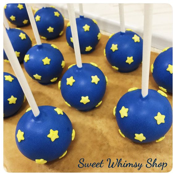 12 Starry Sky Cake Pops For Little Prince Baby Shower, First Birthday, Star  Theme