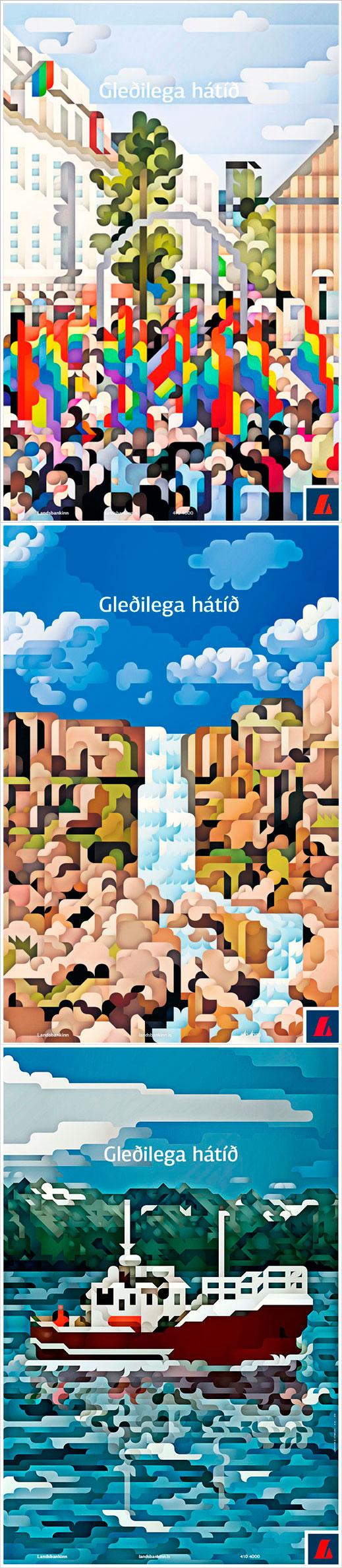 Islanti graafikon silmin, osa 3. Lansbankinn. Kyllä, rahoitusliikkeen grafiikka voi näyttää myös tältä. Siggi Eggertssonin kuvitukset ovat todellakin ajan hermolla, mutta hienointa on niiden yhdistäminen noinkin vakavahenkiseen alaan.   Kuvat: http://www.jl.is/verkin/landsbankinn/