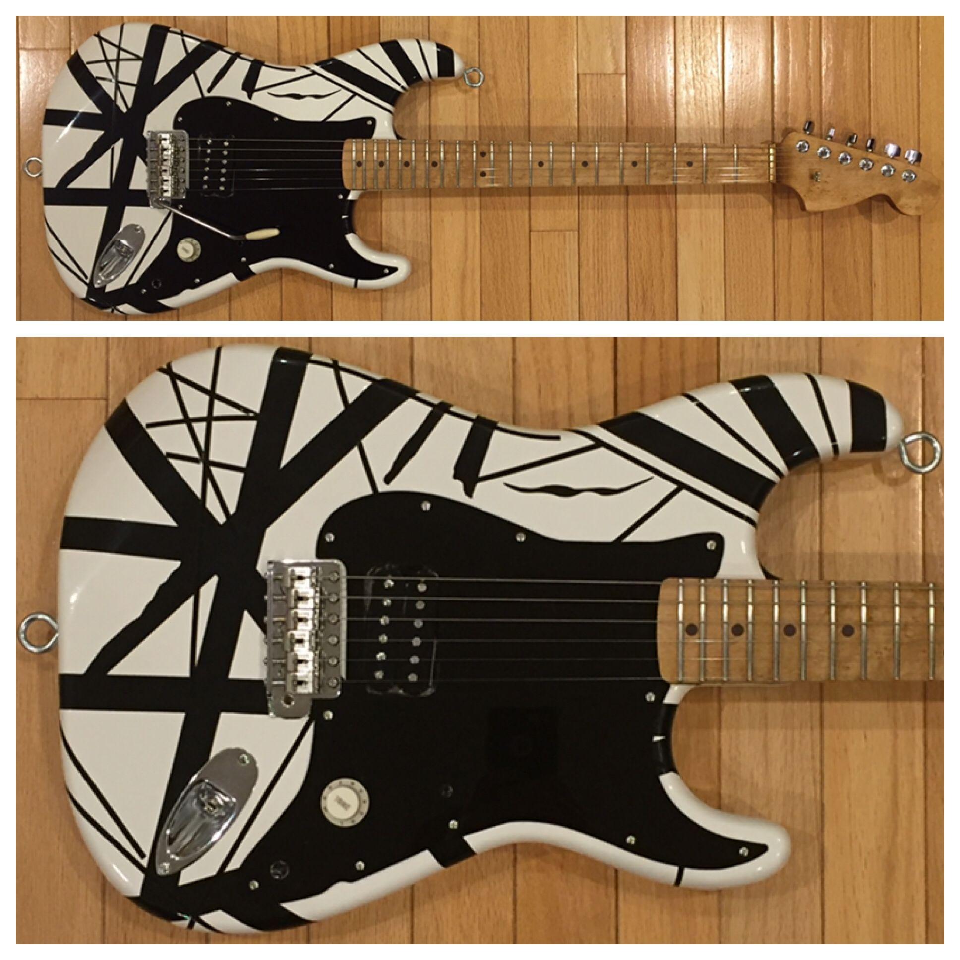 Evh Limited Edition 78 Eruption Electric Guitar Black White Striped Guitar Fender Guitars Guitar Kits