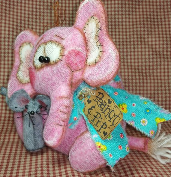 Peanut Elephant and Pip Mouse Pattern #211 - Primitive Doll Pattern ...