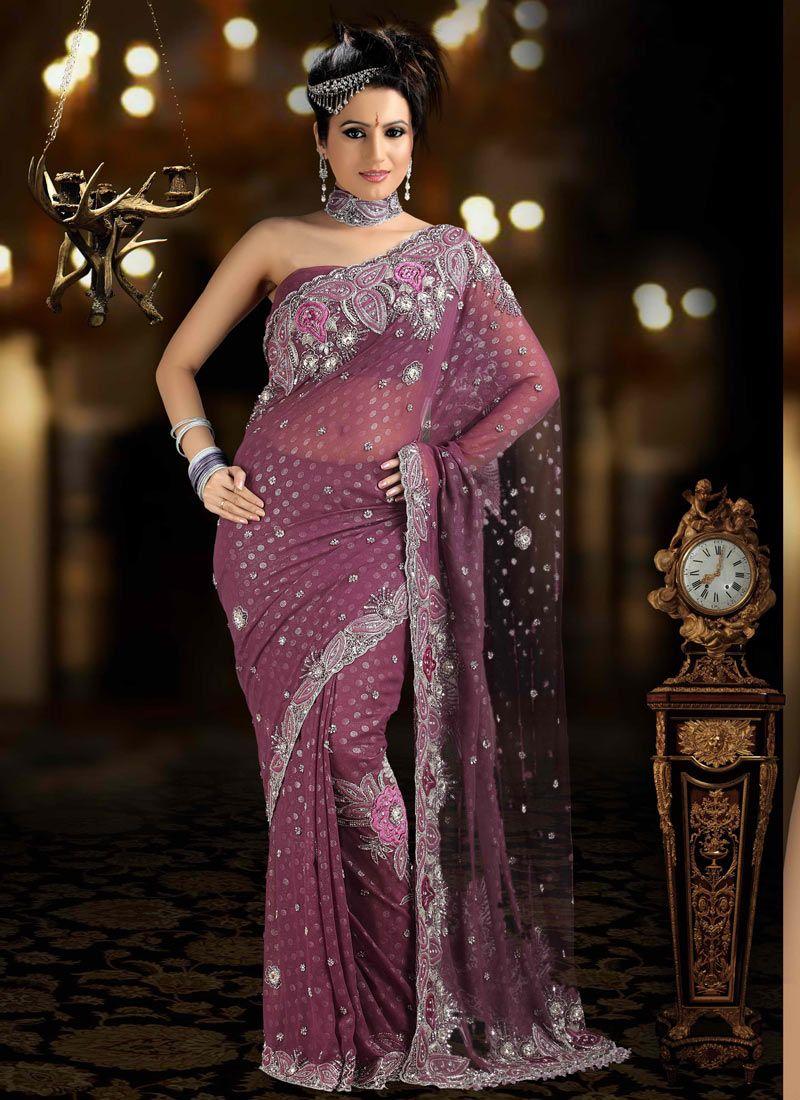 purple color Indian Banarsi Silk Saree   Wedding Ideas   Pinterest