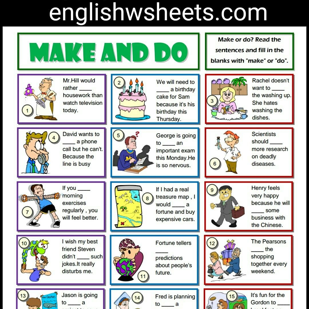 Make And Do Collocation Esl Printable Grammar Exercise