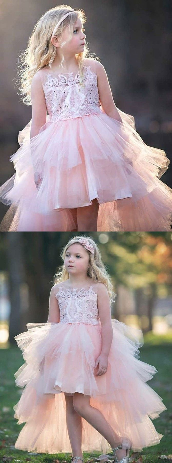 5c0850dbac A-Line Round Neck High Low Pink Tulle Flower Girl Dress with ...