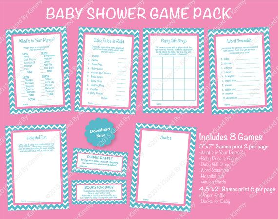 Baby Shower Game Pack Printable Baby Shower Games 8 Pack Light