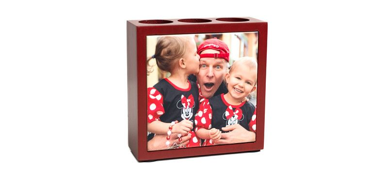 Mahogany Desk Organizer: beautiful solid mahogany desk organizer with your photo on inlaid ceramic tile on the front. Three sections to hold your pens, pencils, and other office items.