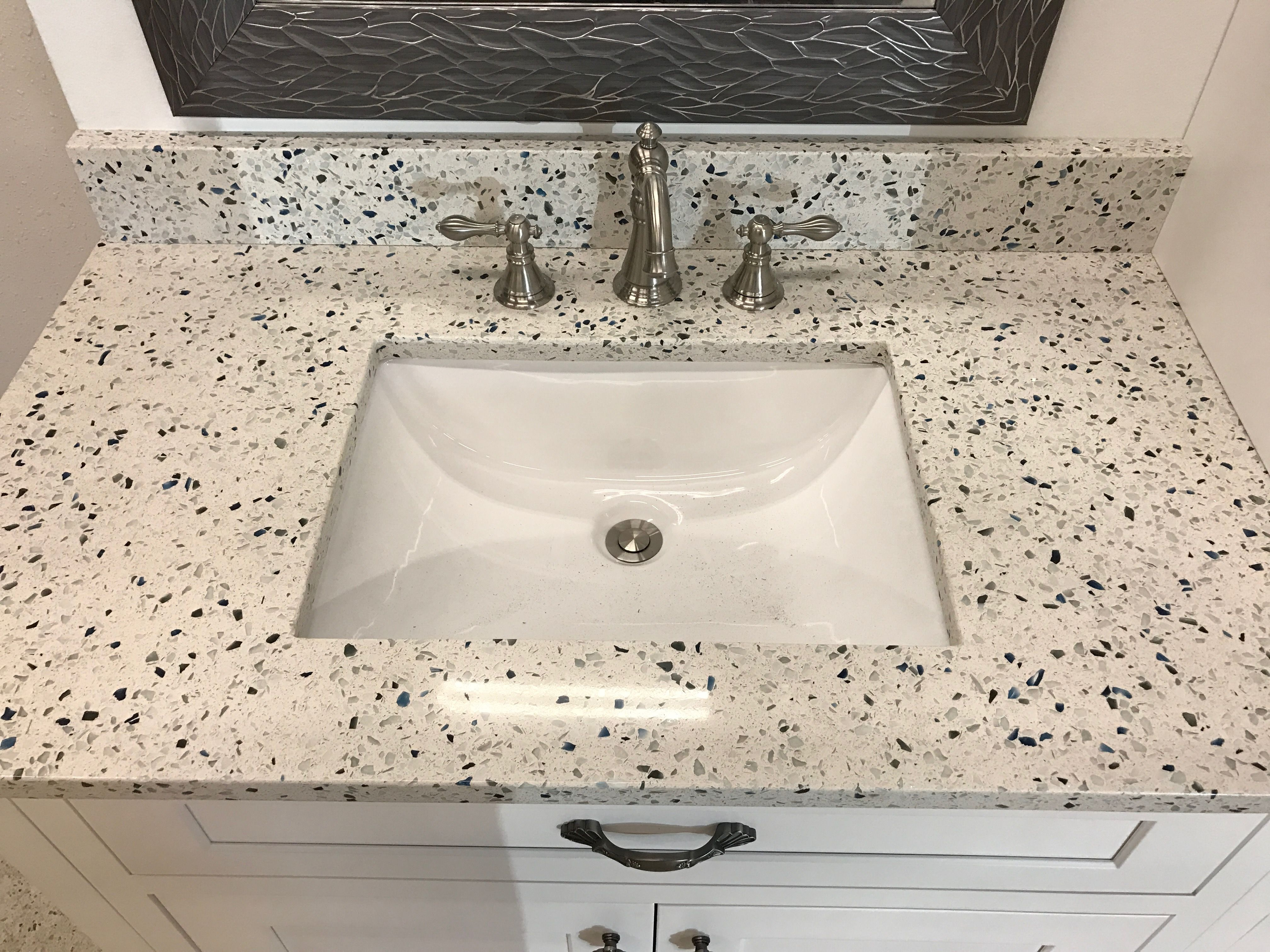 Curava Recycled Glass Countertops This Vanity Comes With Arctic By Curava Recycled Glass