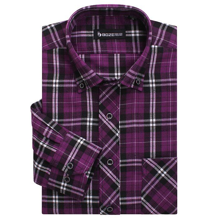 cheapest long sleeve purple plaid shirt men thickness